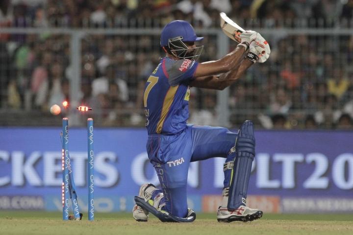 Rajasthan Royals' Jaydev Unadkat bowled by Kolkata Knight Riders' Prasidh Krishna during the VIVO IPL cricket T20 match in Kolkata, India, Tuesday, May 15, 2018. (AP Photo/Bikas Das)