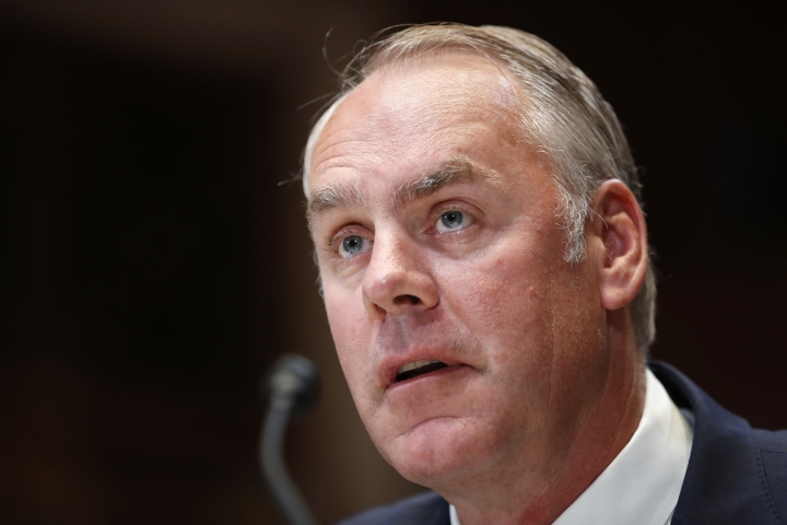 Interior Secretary Ryan Zinke testifies at a Senate Appropriations subcommittee hearing on the FY19 budget, Thursday, May 10, 2018, on Capitol Hill in Washington. (AP Photo/Jacquelyn Martin)