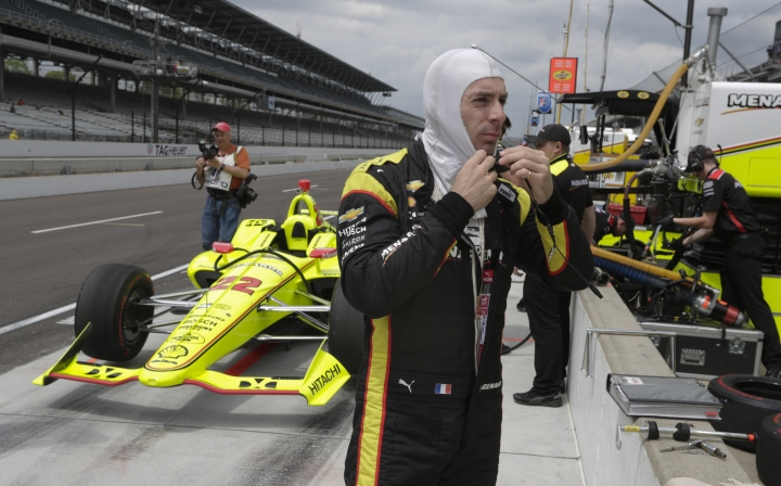 Simon Pagenaud, of France, prepares to drive during practice for the IndyCar Indianapolis 500 auto race at Indianapolis Motor Speedway, in Indianapolis Tuesday, May 15, 2018. (AP Photo/Michael Conroy)