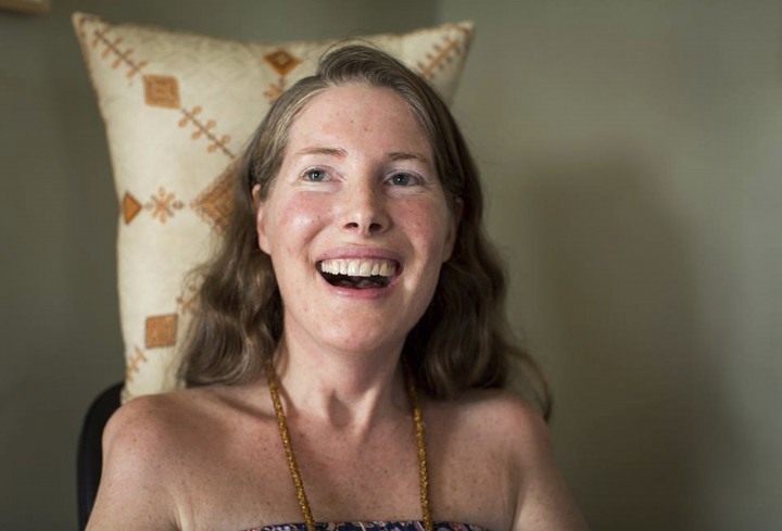 "FILE - In this Sunday, July 24, 2016, file photo provided by Niels Alpert, Betsy Davis smiles during her ""Right To Die Party"" in Ojai, Calif. Davis threw herself the party as she became one of the first to use a California law to take her own life in 2016. Advocates say the terminally ill may die tougher deaths after a judge on Tuesday, May 15, 2018, threw out the law that allows adults to obtain a prescription for life-ending drugs. (Niels Alpert via AP, File)"