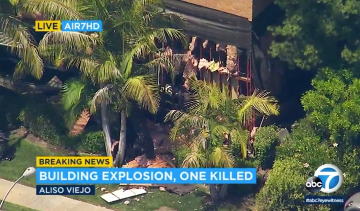This photo taken from video provided by KABC-TV shows a building after an explosion rocked it in Aliso Viejo, Calif., Tuesday afternoon, May 15, 2018. Authorities say one person is dead and several others have injuries. The cause of the blast is being investigated. The injured were taken to a hospital. (KABC-TV via AP)