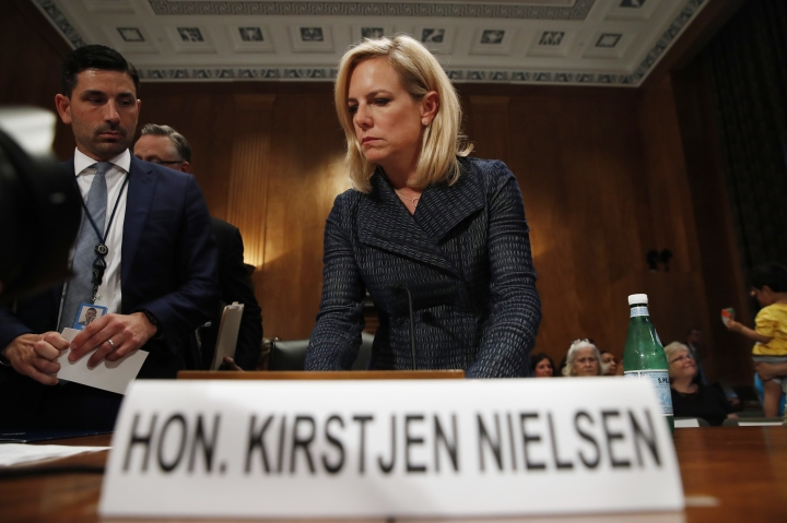 Homeland Security Secretary Kirstjen Nielsen arrives to testify to the Senate Homeland Security Committee, Tuesday, May 15, 2018, on Capitol Hill in Washington. (AP Photo/Jacquelyn Martin)