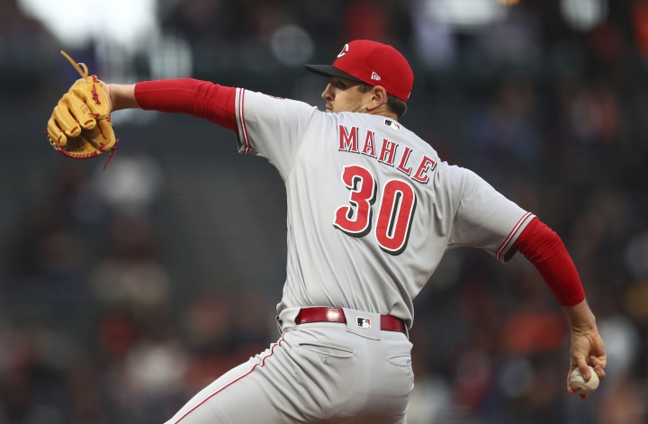 Cincinnati Reds pitcher Tyler Mahle works against the San Francisco Giants during the first inning of a baseball game Tuesday, May 15, 2018, in San Francisco. (AP Photo/Ben Margot)