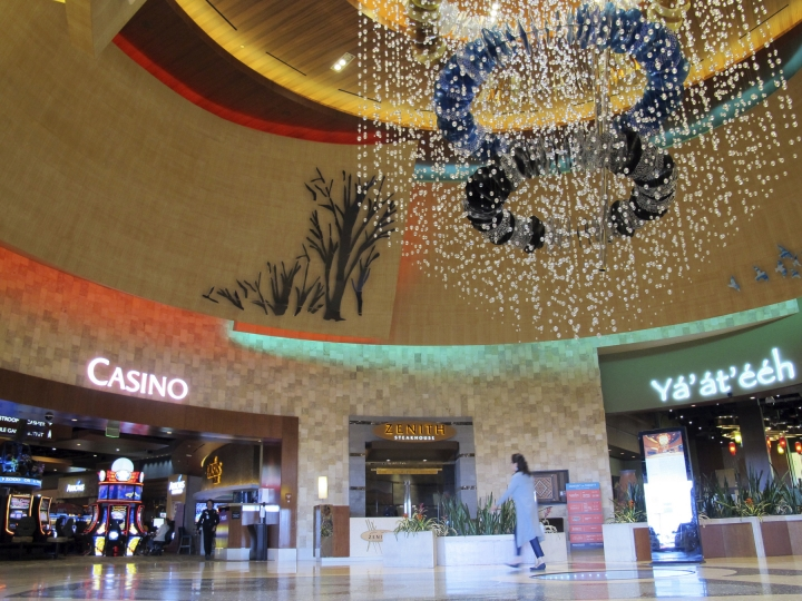 The lobby of the Navajo Nation's Twin Arrows Casino, east of Flagstaff, Ariz., is seen Tuesday, May 15, 2018. American Indian tribes are welcoming the opportunity to add sports betting to potentially hundreds of casinos across the country after the U.S. Supreme Court cleared the way for states to legalize it. (AP Photo/Felicia Fonseca)
