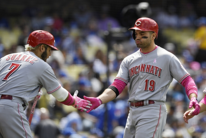 Cincinnati Reds' Joey Votto, right, is congratulated by Eugenio Suarez after hitting a two-run home run during the sixth inning of a baseball game against the Los Angeles Dodgers, Sunday, May 13, 2018, in Los Angeles. (AP Photo/Mark J. Terrill)