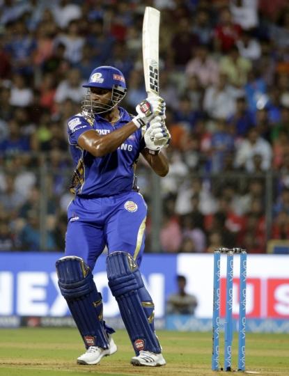 Mumbai Indians Kieron Pollard bats during the VIVO IPL cricket T20 match against Kings XI Punjab in Mumbai, India, Wednesday, May 16, 2018 . (AP Photo/Rafiq Maqbool)