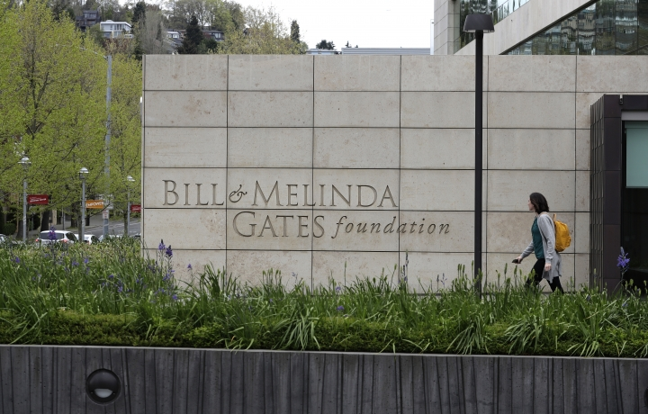 This Friday, April 27, 2018 photo shows the headquarters of the Bill and Melinda Gates Foundation in Seattle. The non-profit foundation has given about $44 million to outside groups over the past two years to help shape new state education plans required under the 2015 law, according to an Associated Press 2018 analysis of its grant database. (AP Photo/Ted S. Warren)