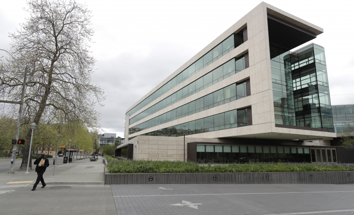 This Friday, April 27, 2018 photo shows the headquarters of the Bill and Melinda Gates Foundation in Seattle. The non-profit foundation has given about $44 million to outside groups over the past two years to help shape new state education plans required under the 2015 law, according to an Associated Press 2018 analysis of its grants. (AP Photo/Ted S. Warren)