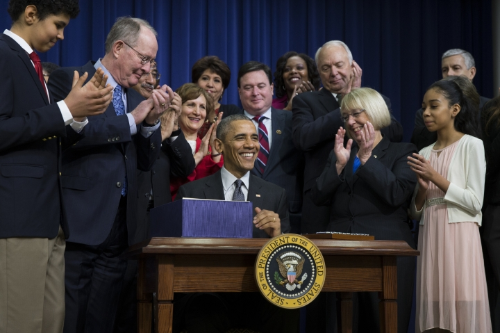 "FILE - In this Dec. 10, 2015 file photo, President Barack Obama speaks before signing the ""Every Student Succeeds Act,"" in Washington. In the two years prior to May 1, 2018, the Bill and Melinda Gates Foundation has spent about $44 million on grants related to the Every Student Succeeds Act, or ESSA, according to an Associated Press review of the foundation's grants database. (AP Photo/Evan Vucci, File)"