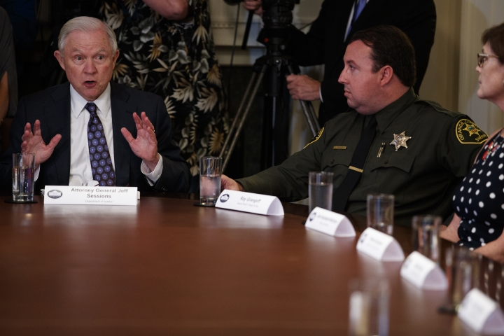 Attorney General Jeff Sessions speaks during a roundtable on immigration policy in California, in the Cabinet Room of the White House, Wednesday, May 16, 2018, in Washington. (AP Photo/Evan Vucci)