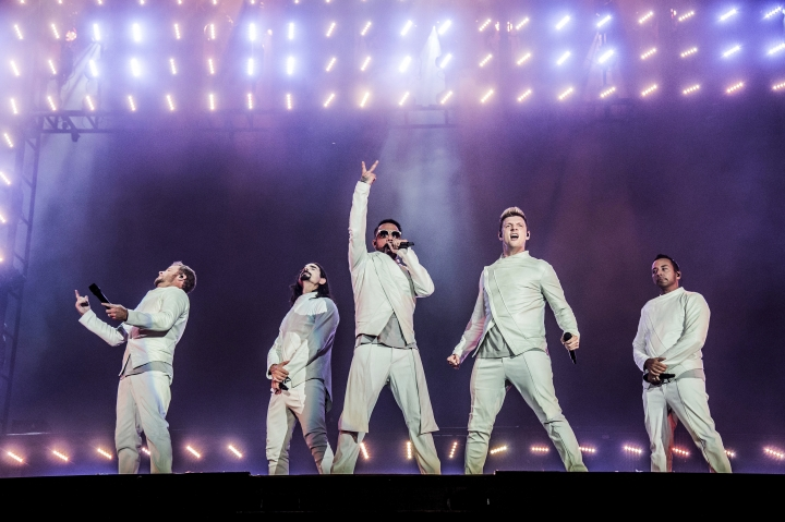 "FILE - In this July 9, 2017, file photo, Brian Littrell, from left, Kevin Richardson, AJ McLean, Nick Carter and Howie Dorough of the Backstreet Boys perform during the Festival d'ete de Quebec in Quebec City, Canada. The Backstreet Boys have a new single. They released ""Don't Go Break My Heart"" on Thursday, May 17, 2018, along with a video. (Photo by Amy Harris/Invision/AP, File)"