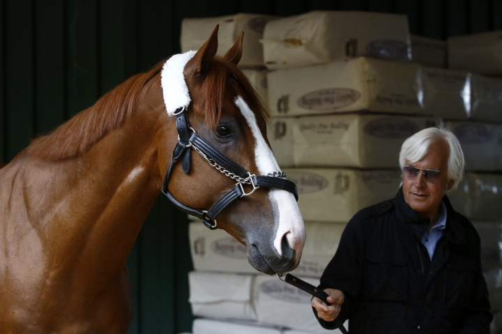 Kentucky Derby winner Justify walks in a barn with trainer Bob Baffert, Wednesday, May 16, 2018, after Justify's arrival at Pimlico Race Course in Baltimore. The Preakness Stakes horse race is scheduled to take place Saturday, May 19. (AP Photo/Patrick Semansky)