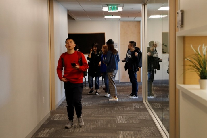 People congregate inside ZGC Innovation Center in Santa Clara, California, April 12, 2018. Picture taken April 12, 2018. REUTERS/ Stephen Lam