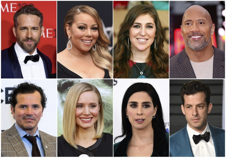 This combination photo shows, top row from left, Ryan Reynolds, Mariah Carey, Mayim Bialik and Dwayne Johnson, and bottom row from left, John Leguizamo, Kristen Bell, Sarah Silverman and Mark Ronson, who have spoken out about mental health issues including anxiety and depression. (AP Photo)