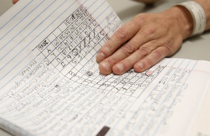"In this Tuesday, May 1, 2018 photo, inmate Richard Walls holds a page of notes during an interview in the Richmond City Jail in Richmond, Va. A federal appeals court is weighing a challenge to a Virginia law that allows police to arrest ""habitual drunkards"" and send them to jail for up to a year for possessing alcohol. (AP Photo/Steve Helber)"