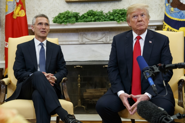 President Donald Trump meets with NATO Secretary General Jens Stoltenberg in the Oval Office of the White House, Thursday, May 17, 2018, in Washington. (AP Photo/Evan Vucci)