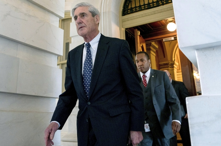 FILE - In this June 21, 2017, file photo, former FBI Director Robert Mueller, the special counsel probing Russian interference in the 2016 election, departs Capitol Hill following a closed door meeting in Washington. It was one year ago Thursday when Robert Mueller, the former FBI director, was appointed as special counsel to take over the Justice Department's investigation into possible coordination between Russia and Donald Trump's 2016 presidential campaign. (AP Photo/Andrew Harnik, File)