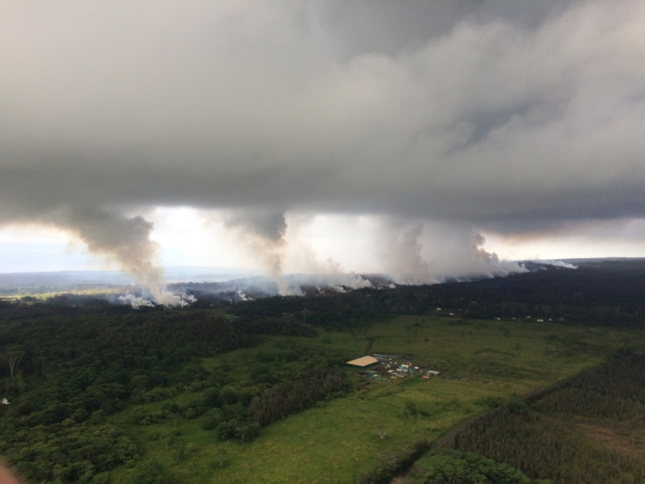 This Wednesday, May 16, 2018, image provided by the U.S. Geological Survey shows sulfur dioxide plumes rising from fissures along the rift and accumulating in the cloud deck, viewed from the Hawaiian Volcano Observatory overflight in the morning at 8:25 a.m., HST near Pahoa, Hawaii. Plumes range from 1 to 2 kilometers (3,000 to 6,000 feet) above the ground. Officials say some vents formed by Kilauea volcano are releasing such high levels of sulfur dioxide that the gas poses an immediate danger to anyone nearby. (U.S. Geological Survey via AP)