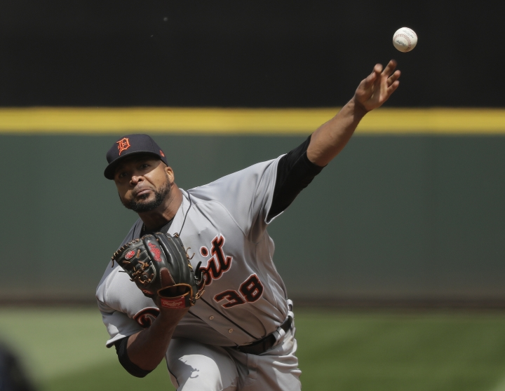 Detroit Tigers starting pitcher Francisco Liriano throws against the Seattle Mariners during the fifth inning of a baseball game, Sunday, May 20, 2018, in Seattle. (AP Photo/Ted S. Warren)