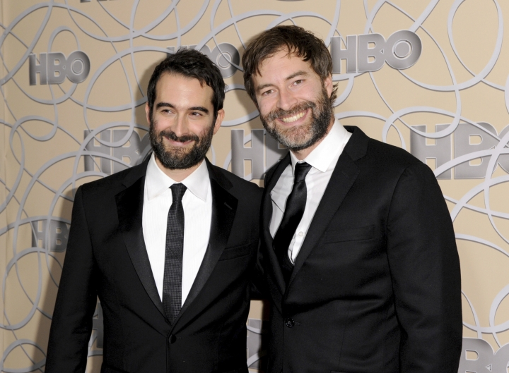 """FILE - In this Jan. 8, 2017 file photo, Indie filmmakers Jay Duplass, left, and Mark Duplass arrive at the HBO Golden Globes afterparty in Beverly Hills, Calif. The brothers have written a memoir called """"Like Brothers."""" It mixes autobiography, movie-making advice, observational comedy, old scripts and emails, and tips on keeping friendships in business. (Photo by Richard Shotwell/Invision/AP, File)"""