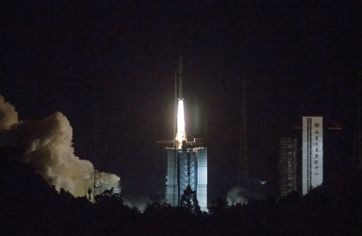 In this photo provided by China's official Xinhua News Agency, a Long March-4C rocket carrying a relay satellite, named Queqiao (Magpie Bridge), is launched from southwest China's Xichang Satellite Launch Center, Monday, May 21, 2018. China has launched a relay satellite as part of a groundbreaking program to land a probe on the far side of the moon this year. The China National Space Administration said on its website that the satellite lofted into space early Monday aboard a Long March-4C rocket will facilitate communication between controllers on Earth and the Chang'e 4 mission.(Cai Yang/Xinhua via AP)