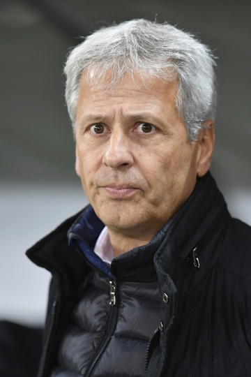 FILE - In this Oct. 20, 2016 file photo then Nice's head coach Lucien Favre looks on during the Europa League group I soccer match between Salzburg and Nice in Salzburg, Austria. Borussia Dortmund has signed Lucien Favre as coach from French side Nice. The Bundesliga club says Tuesday, May 22, 2018 the 60-year-old Favre, who previously coached league rivals Borussia Moenchengladbach and Hertha Berlin, has signed a deal through June 2020. (AP Photo/Kerstin Joensson,file)