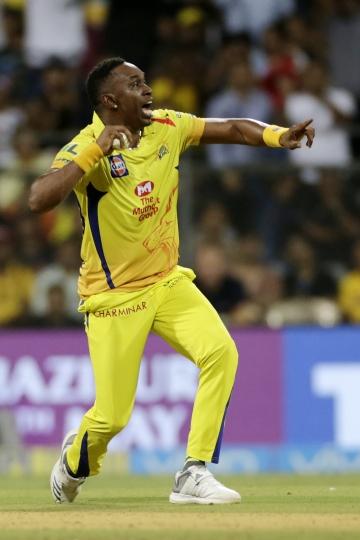 Chennai Super Kings player Dwayne Bravo celebrates after taking Sunrisers' Yusuf Pathan's wicket during their VIVO IPL cricket T20 match in Mumbai, India, Tuesday, May 22, 2018. (AP Photo/Rajanish Kakade)