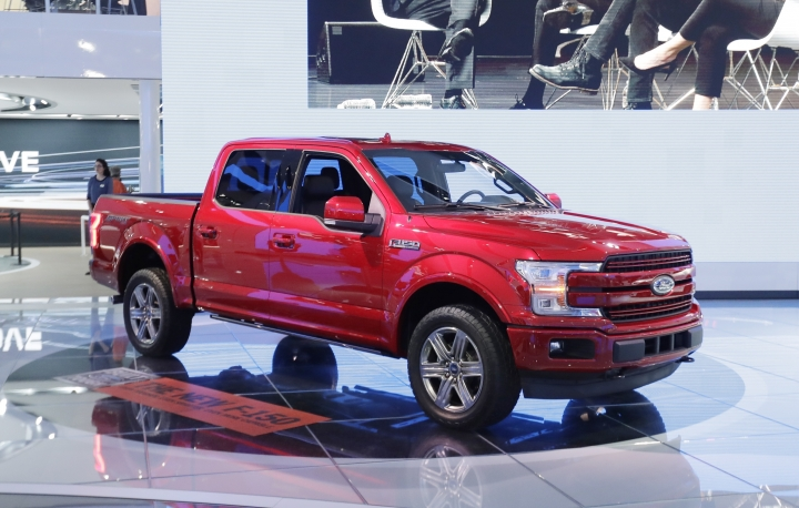 FILE - In this Jan. 9, 2017, file photo, a 2018 Ford F-150 is displayed at the North American International Auto show in Detroit. The 2018 Ford F-150 has a significant discount going into Memorial Day weekend. (AP Photo/Carlos Osorio, File)
