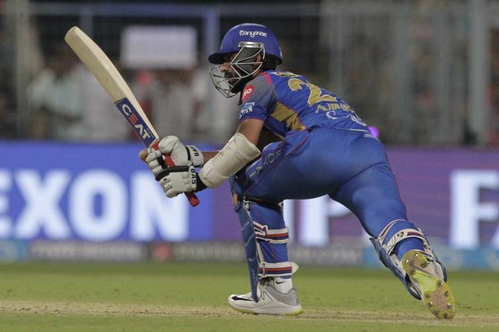 Rajasthan Royals' Ajinkya Rahane bats during the VIVO IPL cricket T20 match against Kolkata Knight Riders in Kolkata, India, Wednesday, May 23, 2018. (AP Photo/Bikas Das)
