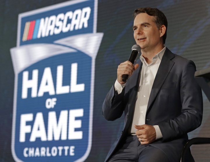 Jeff Gordon speaks to the media after being named to the 2019 class of the NASCAR Hall of Fame, in Charlotte, N.C., Wednesday, May 23, 2018. (AP Photo/Chuck Burton)