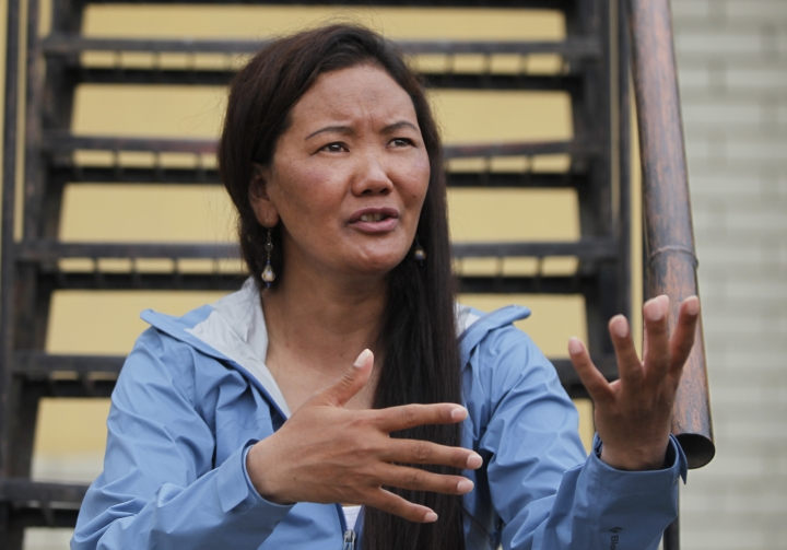 Nepalese female climber Lhakpa Sherpa talks with Associated Press in Kathmandu, Nepal, Wednesday, May 23, 2018. Lhakpa Sherpa scaled the 8,850-meter (29,035-foot) peak last week, breaking her own record for the most climbs by a woman. (AP Photo/Niranjan Shrestha)