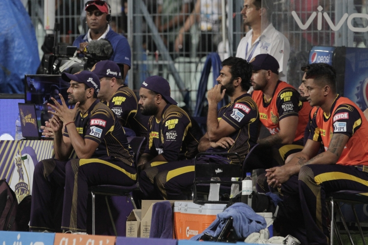 Dejected dug out of Kolkata Knight Riders' after they lost the match by fourteen runs to Sunrisers Hyderabad during the VIVO IPL cricket T20 match in Kolkata, India, Friday, May 25, 2018. (AP Photo/Bikas Das)