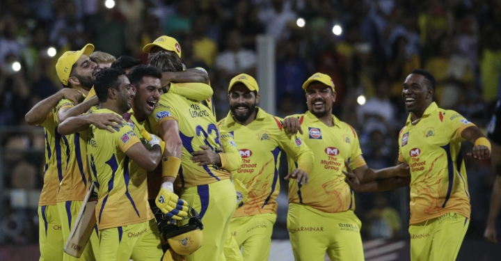 Chennai Super King's player celebrates after their win against Sunrisers Hyderabad's at VIVO IPL cricket T20 final match in Mumbai, India, Sunday, May 27, 2018. (AP Photo/Rafiq Maqbool)