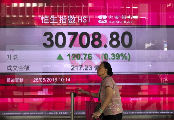 A woman walks past an electronic board showing Hong Kong share index outside a local bank in Hong Kong, Monday, May 28, 2018. Asian shares were mixed on Monday as investors digested the latest developments surrounding North Korea and Italian politics while crude oil extended losses as traders braced for output increases. (AP Photo/Vincent Yu)