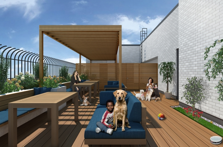 This undated photo, provided by Urban Resource Institute, shows renderings for the first domestic violence shelter custom-built to accommodate pets, which advocates say is a factor in some victims' decisions to leave their abusers. (Kerstin Vom Hagen/Urban Resource Institute via AP)