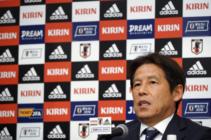 Japanese men's national soccer coach Akira Nishino announces Japanese squad members for the World Cup Russia during a press conference in Tokyo Thursday, May 31, 2018. Nishino named his 23-man World Cup squad, relying heavily on veteran players with previous experience in the tournament. (AP Photo/Eugene Hoshiko)