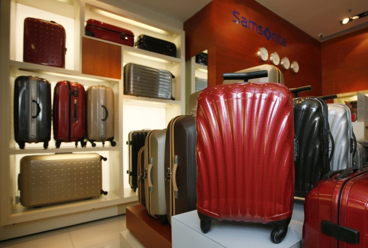 FILE - In this June 2, 2011, file photo, Samsonite products are displayed at a store in Hong Kong. Luggage maker Samsonite said Friday, June 1, 2018 its CEO stepped down following a report by a short-seller that questioned his credentials and the company's accounting. The company said in a statement that Ramesh Tainwala resigned citing personal reasons. (AP Photo/Kin Cheung)