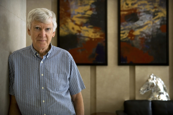 """Renowned Australian playwright David Williamson poses for a photo at his hotel in Beijing, Tuesday, June 5, 2018. Williamson said on Tuesday that he was disappointed Beijing censors had canceled a production of his play """"The Removalists"""" officially because of bad language and violence. (AP Photo/Mark Schiefelbein)"""