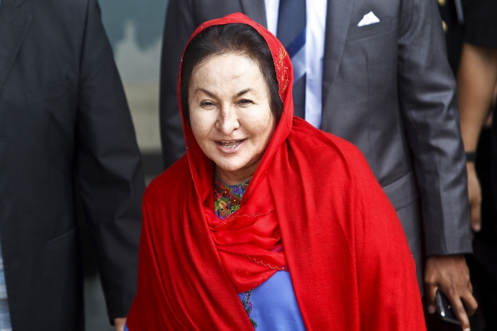 Rosmah Mansor, the wife of former Malaysian Prime Minister Najib Razak, leaves the Malaysian Anti-Corruption Commission (MACC) Office in Putrajaya, Malaysia, Tuesday, June 5, 2018. Rosmah was questioned Tuesday by the anti-graft agency over alleged theft and money-laundering involving the 1MDB state investment fund, as Najib's lawyers said they had pulled out. (AP Photo/Sadiq Asyraf)