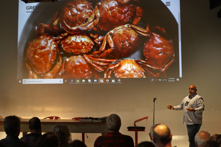 Jamie Bassett, a crabber from Chatham, Mass., gives presentation on culinary uses for the green crabs, at a conference, Wednesday, June 6, 2018, in Portland, Maine. Food scientists have gathered to find a way to monetize invasive green crabs, which are a major pest in shellfish harvesting communities. (AP Photos/Robert F. Bukaty)
