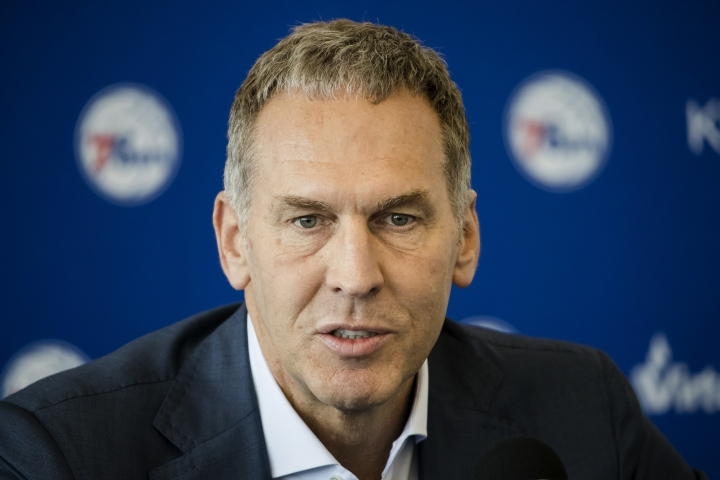 "FILE - In this May 11, 2018, file photo, Philadelphia 76ers President of Basketball Operations Bryan Colangelo speaks with members of the media during a news conference at the NBA basketball team's practice facility in Camden, N.J. The Philadelphia 76ers say Bryan Colangelo has resigned as president of basketball operations after an independent firm investigated allegations that he used a variety of Twitter accounts to anonymously trash some of his own players and fellow executives and defend himself against criticism from fans and the sports media. The team says Thursday, June 7, 2018, that Colangelo offered his resignation ""recognizing the detrimental impact this matter on the organization.""(AP Photo/Matt Rourke)"