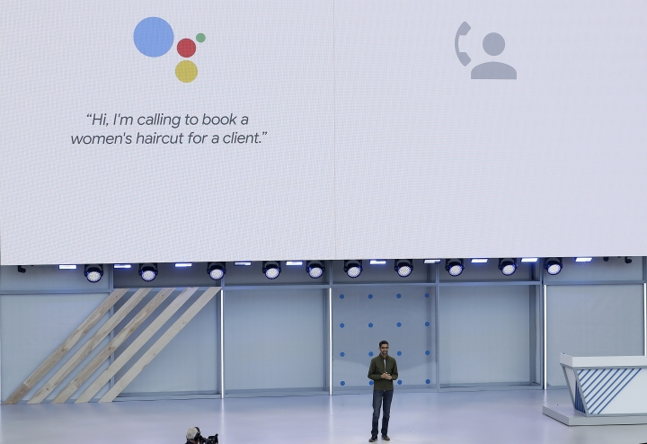 """FILE- In this May 8, 2018, file photo, Google CEO Sundar Pichai speaks at the Google I/O conference in Mountain View, Calif. Google pledges that it will not use artificial intelligence in applications related to weapons or surveillance, part of a new set of principles designed to govern how it uses AI. Those principles, released by Pichai, commit Google to building AI applications that are """"socially beneficial,"""" that avoid creating or reinforcing bias and that are accountable to people. (AP Photo/Jeff Chiu, File)"""