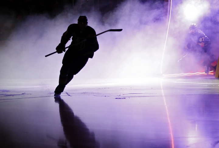 Members of the Vegas Golden Knights take the ice prior to Game 5 of the NHL hockey Stanley Cup Finals against the Washington Capitals on Thursday, June 7, 2018, in Las Vegas. (AP Photo/John Locher)