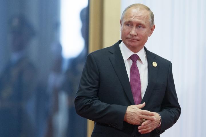 Russian President Vladimir Putin arrives to attend the Shanghai Cooperation Organization (SCO) Summit in Qingdao in eastern China's Shandong Province Sunday, June 10, 2018. (AP Photo/Alexander Zemlianichenko)