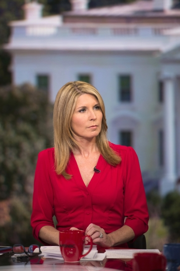 "This June 15, 2017 photo released by MSNBC shows Nicolle Wallace on the set of her show ""Deadline: White House,"" in Washington. Her show airs weekdays at 4 p.m. (Nathan Congleton/MSNBC via AP)"