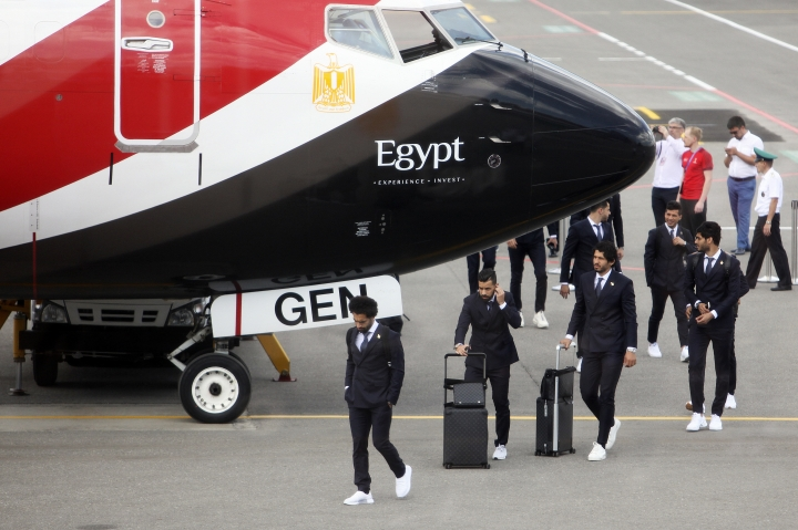 Egypt national soccer team arrive at an airport outside Grozny, Russia, Sunday, June 10, 2018 to compete in the 2018 World Cup in Russia. The 21st World Cup begins on Thursday, June 14, 2018, when host Russia takes on Saudi Arabia. (AP Photo/Musa Sadulayev)