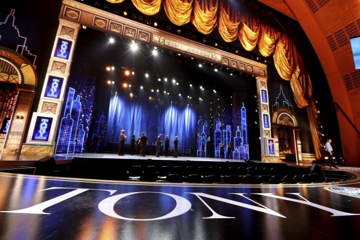 View of the stage at the 72nd annual Tony Awards at Radio City Music Hall on Sunday, June 10, 2018, in New York. (Photo by Michael Zorn/Invision/AP)