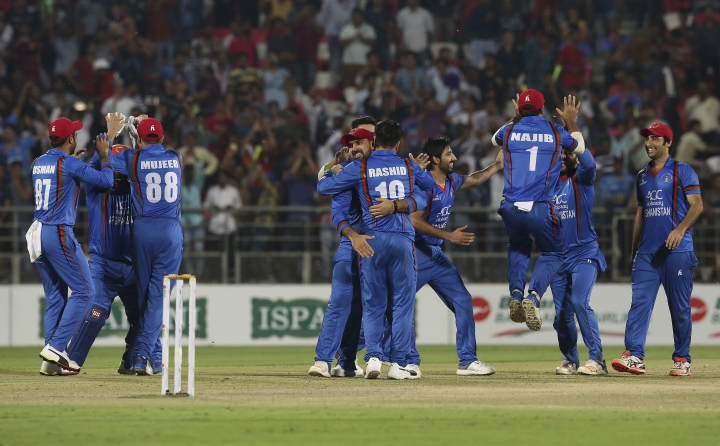 Afghanistan cricket team celebrate after winning winning the third T20 cricket match between Afghanistan and Bangladesh in Dehraduni, India, Friday, June 8, 2018, Afghanistan win the series by 3-0. (AP Photo/Anupam Nath)