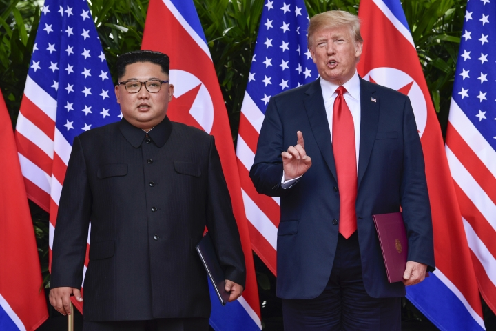 U.S. President Donald Trump makes a statement before saying goodbye to North Korea leader Kim Jong Un after their meetings at the Capella resort on Sentosa Island Tuesday, June 12, 2018 in Singapore. (AP Photo/Susan Walsh,Pool)
