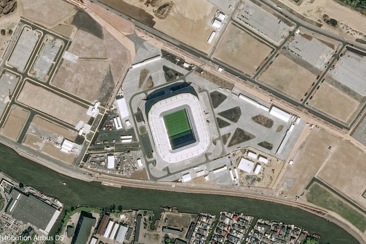 """This satellite image provided by Airbus Defence & Space on Wednesday, June 6, 2018, shows the Kaliningrad stadium which will host some 2018 FIFA World Cup matches, in Kaliningrad, Russia. October Island was """"a little corner of heaven"""" in the Russian city of Kaliningrad, says local ecologist Alexandra Korolyova. At least, until a World Cup stadium was built on it. (CNES 2018, Distribution Airbus DS via AP, File)"""
